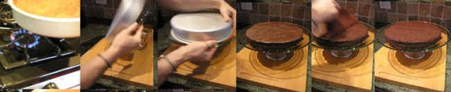 Transferring cake to plate