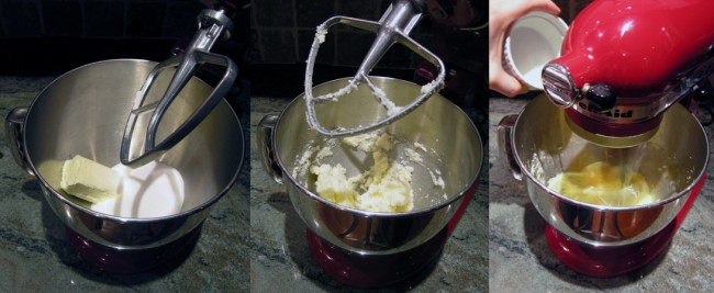 Mixing butter, sugar and adding eggs