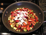 Add the rhubarb and 1/4 cup of the sugar