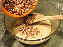 Remove from the mixture from the heat and stir in pecans.