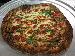 Eggplant and Roasted Red Pepper Pizza